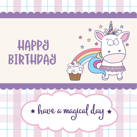 Happy Birthday Card With Lovely Baby Girl Unicorn Vector Format