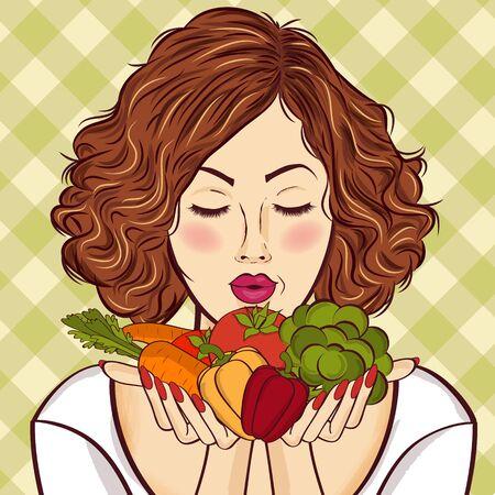Hermosa dama pelirroja con verduras en sus manos Foto de archivo - 90628808