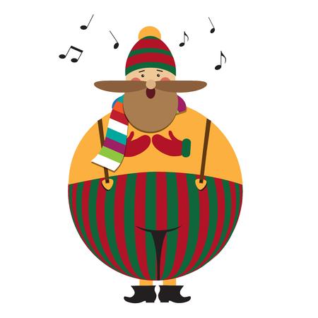 Chant de Noël drôle de gros gras, les gens sur fond blanc Banque d'images - 90628810