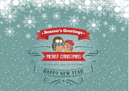 Christmas card with a couple of birds, vector eps 10