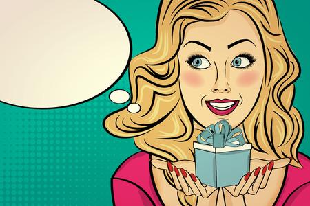 La dame blonde avec un cadeau dans ses mains, femme de pop art Banque d'images - 90628817