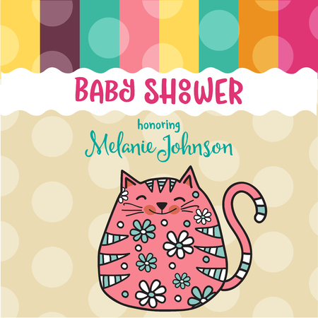 Modelo de cartão de banho de bebê com gato de doodle de gordura, formato vetorial Foto de archivo - 90628818