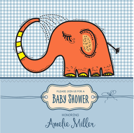 baby shower card template with funny doodle elephant, vector format  イラスト・ベクター素材