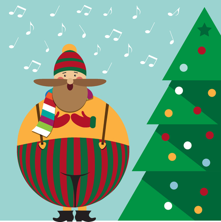 Cute Christmas card with funny fat Christmas carol , vector format Illustration