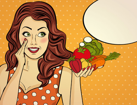 the  red-haired lady with vegetable in her hands, pop art woman