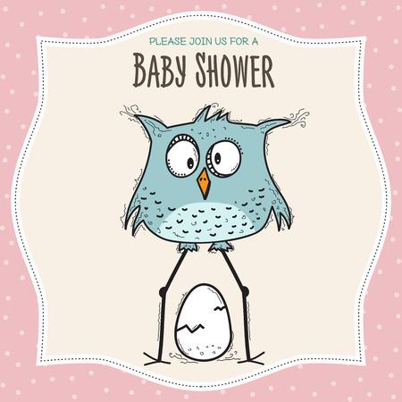 baby shower card template with funny doodle bird, vector format Illusztráció