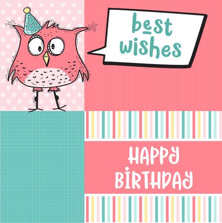 gelukkige verjaardagskaart met grappige doodle vogel, vector-formaat