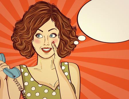 Hermosa dama pelirroja, habla a un teléfono retro y sonríe Foto de archivo - 90628830