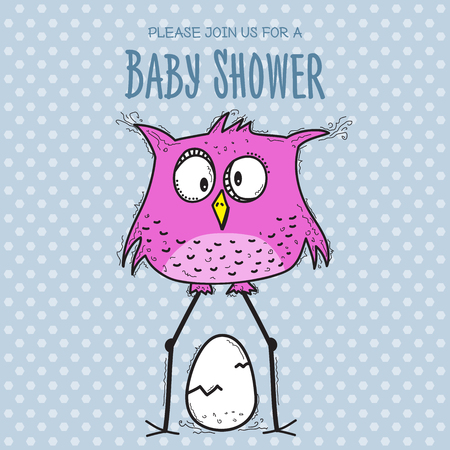 baby shower card template with funny doodle bird, vector format  イラスト・ベクター素材