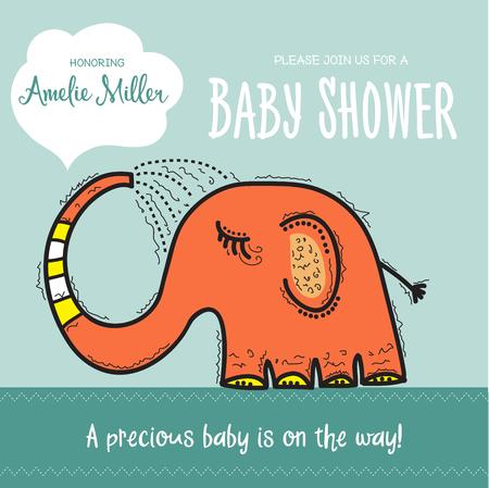 아기 샤워 카드 템플릿 재미 있은 낙서 코끼리, 벡터 형식으로 샤워