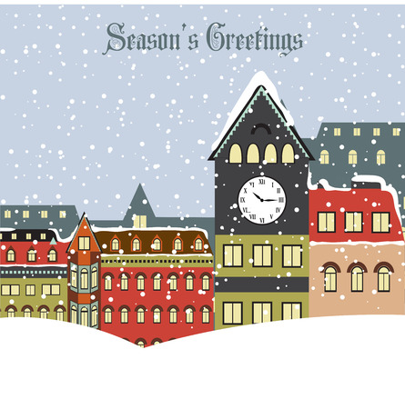 Christmas card with town in winter, vector format