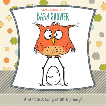 baby shower card template with funny doodle bird, vector format Ilustrace