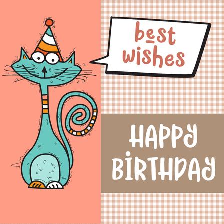 gelukkige verjaardagskaart met grappige doodle kat, vector-formaat