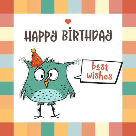 面白い落書き鳥、ベクトル形式でお誕生日おめでとうカード