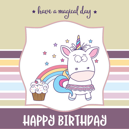 happy birthday card  with lovely baby girl unicorn, vector format Ilustração