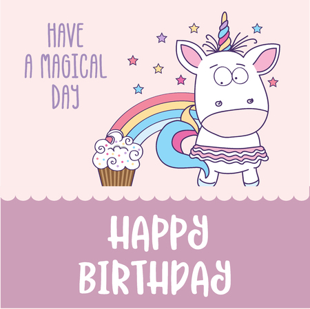 happy birthday card  with lovely baby girl unicorn, vector format Vettoriali