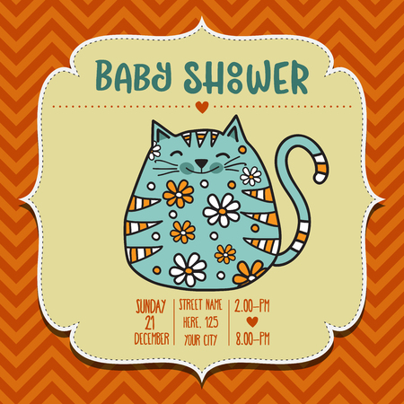baby shower card template with fat doodle cat, vector format Illustration