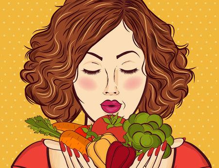 Hermosa dama pelirroja con verduras en sus manos Foto de archivo - 90628862