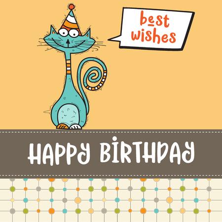 面白い落書き猫、ベクター形式とお誕生日おめでとうカード  イラスト・ベクター素材