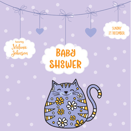 Plantilla de tarjeta de ducha de bebé con gato gordo doodle, formato vectorial Foto de archivo - 90628865