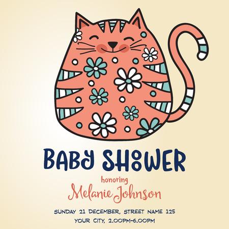 baby shower card template with fat doodle cat, vector format Ilustração