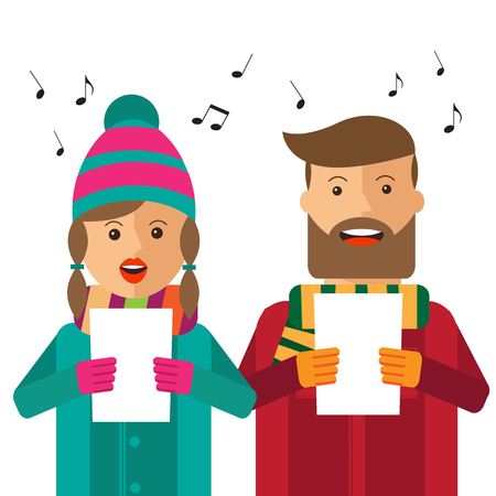 Hipster carols on white background, vector format