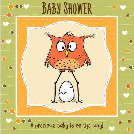 baby shower card template with funny doodle bird, vector format 向量圖像