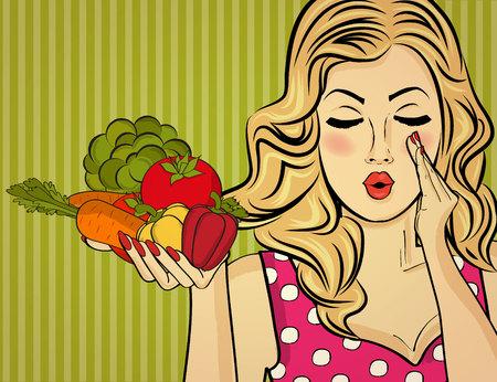 Rubia sexy lady con vegetales en sus manos, mujer del arte pop Foto de archivo - 90628878