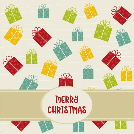 Christmas background with gift  boxes Иллюстрация