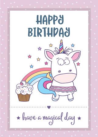 happy birthday card  with lovely baby girl unicorn, vector format Ilustração