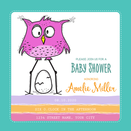 baby shower card template with funny doodle bird, vector format Иллюстрация