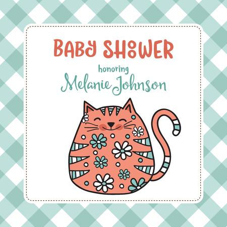 Plantilla de tarjeta de ducha de bebé con gato gordo doodle, formato vectorial Foto de archivo - 90628891