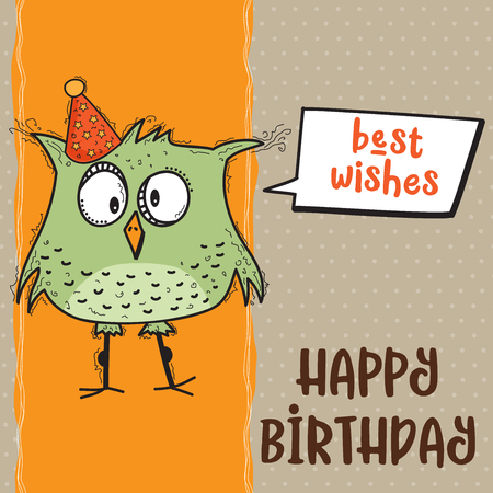 happy birthday card  with funny doodle bird, vector format