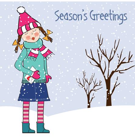 若い女の子は、ベクトル形式のクリスマス カード