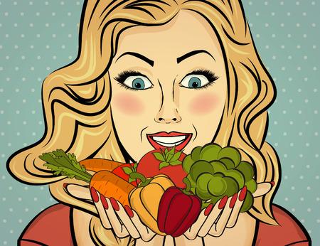 Dame sexy blonde avec un légume dans ses mains, femme pop art Vecteurs