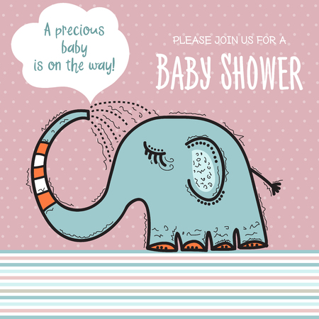 baby shower card template with funny doodle elephant, vector format Ilustração