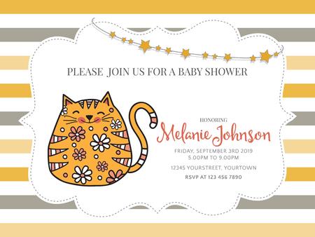 Plantilla de tarjeta de ducha de bebé con gato gordo doodle, formato vectorial Foto de archivo - 90651792