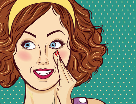beautiful red-haired lady, gossip and smile Illustration