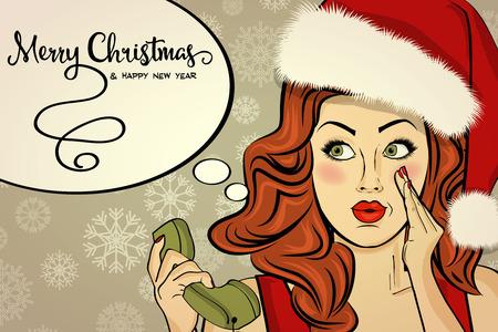 beautiful retro Christmas card with sexy Santa, vector format