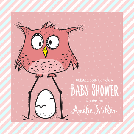 baby shower card template with funny doodle bird, vector format Illustration