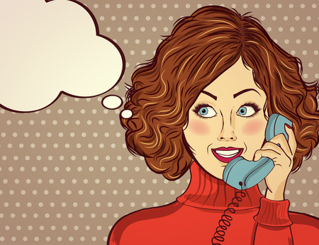 beautiful red-haired lady, speaks to a retro phone and smile