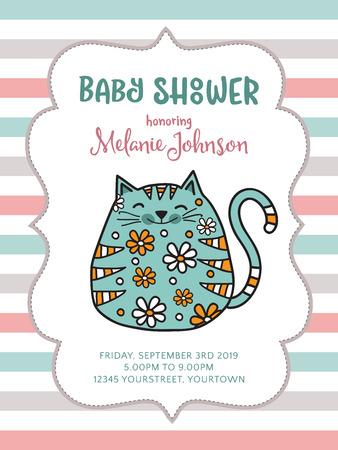 Plantilla de tarjeta de ducha de bebé con gato gordo doodle, formato vectorial Foto de archivo - 90651813