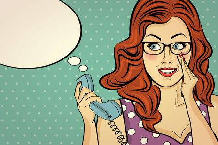 メガネをかけた赤毛の女性、レトロな電話でゴシップ、ポップアートの女性 写真素材 - 90651827