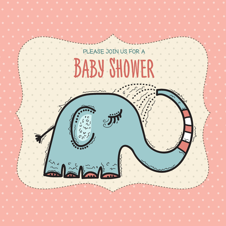 baby shower card template with funny doodle elephant, vector format 向量圖像