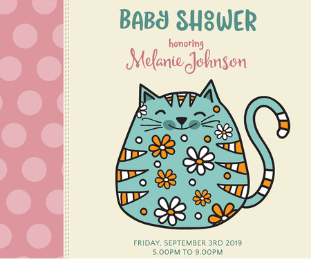baby shower card template with fat doodle cat, vector format  イラスト・ベクター素材