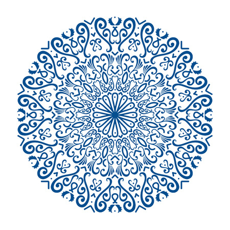 Oriental vector round ornament with arabesques elements. Traditional classic ornament. Vintage pattern with arabesques.
