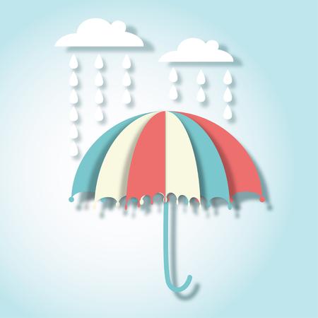 Beautiful paper art vector illustration with umbrella and rain drops Vettoriali