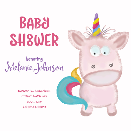 beautiful doodle baby shower card wirh watercolor unicorn, vector