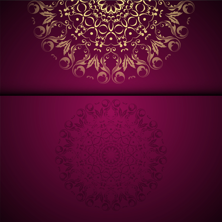 Vector gold oriental arabesque pattern background with place for text. Garnet color Stok Fotoğraf - 95589218