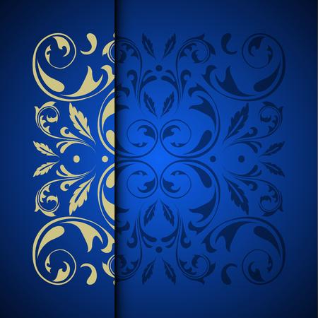 テキストのための場所とベクトルゴールドオリエンタルアラベスクパターンの背景。青い色
